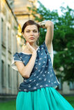 Fashion Model Posing On A City Street Royalty Free Stock Images