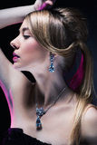 Fashion model posing in exclusive jewelry royalty free stock photo