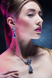 Fashion model posing in exclusive jewelry stock photography