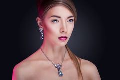 Fashion model posing in exclusive jewelry stock photos