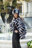 Fashion model posing in a fur coat and a fur hat Stock Images