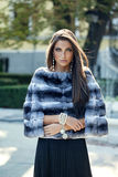 Fashion model posing in a fur coat outdoor Royalty Free Stock Image