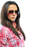 Fashion model posing isolated on white wearing sunglasses - clos Royalty Free Stock Photography