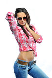Fashion model posing isolated on white wearing sunglasses - port Royalty Free Stock Photos