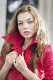 Fashion model posing in jacket Royalty Free Stock Image