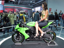 Fashion model posing on a Kawasaki Ninja ZX-10R Stock Images