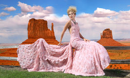 Fashion Model Posing in a National Park Royalty Free Stock Photo