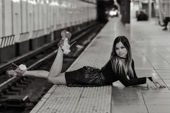 Fashion model posing in NYC Subway. Royalty Free Stock Photography