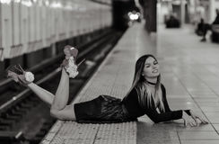 Fashion model posing in NYC Subway. Royalty Free Stock Images