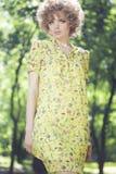 Fashion model posing outdoors stock photo