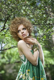 Fashion model posing outdoors stock photos
