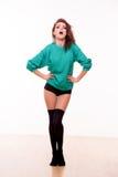 Fashion model posing in photo studio Royalty Free Stock Image