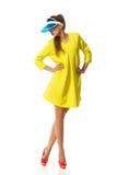 Fashion Model Posing In Plastic Sun Visor Stock Photos