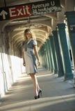 Fashion model posing pretty in NYC subway Royalty Free Stock Photos