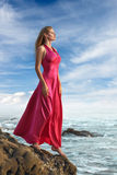 Fashion model posing at sea Royalty Free Stock Photo