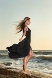 Fashion model posing at sea Royalty Free Stock Photo
