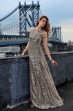 Fashion model posing sexy, wearing long evening dress on rooftop location Royalty Free Stock Photo