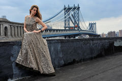 Fashion model posing sexy, wearing long evening dress on rooftop location Stock Photography