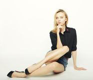 Fashion model posing in studio Royalty Free Stock Photography