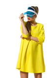 Fashion Model Posing In Transparent Blue Sun Visor Stock Photos