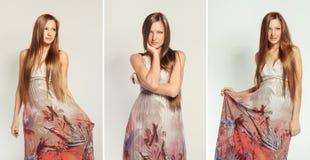 Fashion model posing on white background in the studio. Stock Photos