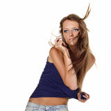 Fashion model posing in the wind Royalty Free Stock Photography