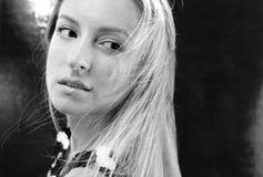 Fashion model in profile, Black-white photo. Stock Image