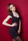 Fashion model in purple dress Stock Photo