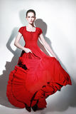 Fashion model in red dress Royalty Free Stock Photos