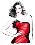 Fashion model. With red dress - Vector illustration Royalty Free Stock Photography