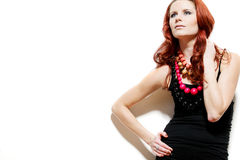 Fashion model with red hair. Royalty Free Stock Images