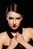 Fashion model with red lips and bright makeup Royalty Free Stock Photo