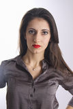 Fashion model with red lips with serious and passion look Stock Images