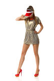Fashion Model In Red Plastic Sun Visor Cap Royalty Free Stock Photography
