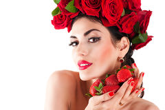 Fashion model with red roses hairstyle Royalty Free Stock Image