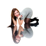 Fashion model reflecting in mirror Stock Photography