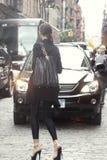 Fashion model Regina Feoktistova street style in New York. Fashion model Regina Feoktistova street style during New York Fashion Week Stock Photo