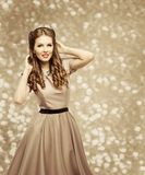 Fashion Model Retro Hairstyle, Elegant Woman in Old Fashioned Dress. Young Girl Beauty Portrait stock photos