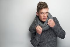 Fashion Model and Scarf Royalty Free Stock Images