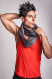 Fashion model with scarf is posing Royalty Free Stock Photo