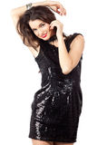 Fashion model in sequin dress Stock Photos