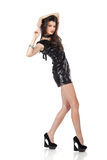 Fashion model in sequin dress Royalty Free Stock Photography