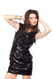 Fashion model in sequin dress Royalty Free Stock Photos