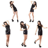 Fashion model in sequin dress. Collage of five  images of an attractive fashion model posing in black sequin dress. High resolution studio shots Royalty Free Stock Photography