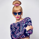Fashion Model Sexy Blond Girl, Glamour Sunglasses Royalty Free Stock Photo