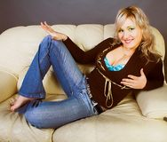 Fashion model in sexy casual clothing. Fashion blond model in sexy casual clothing Royalty Free Stock Photo