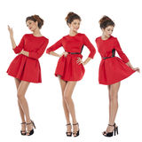 Fashion model in sexy red dress Royalty Free Stock Photo