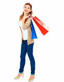 Fashion model with shopping bag. Isolated white background full Royalty Free Stock Image
