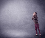 Fashion model shouting in empty space Royalty Free Stock Photo