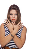 Fashion model showing acrylic fingernails Stock Photo